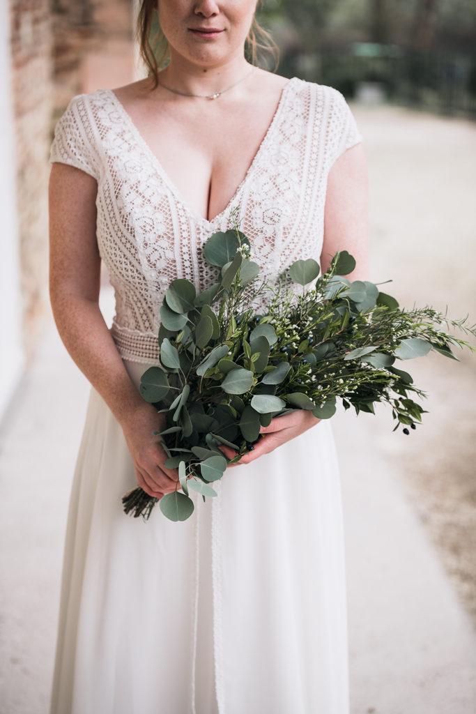 Bouquet de mariée hivernal et robe