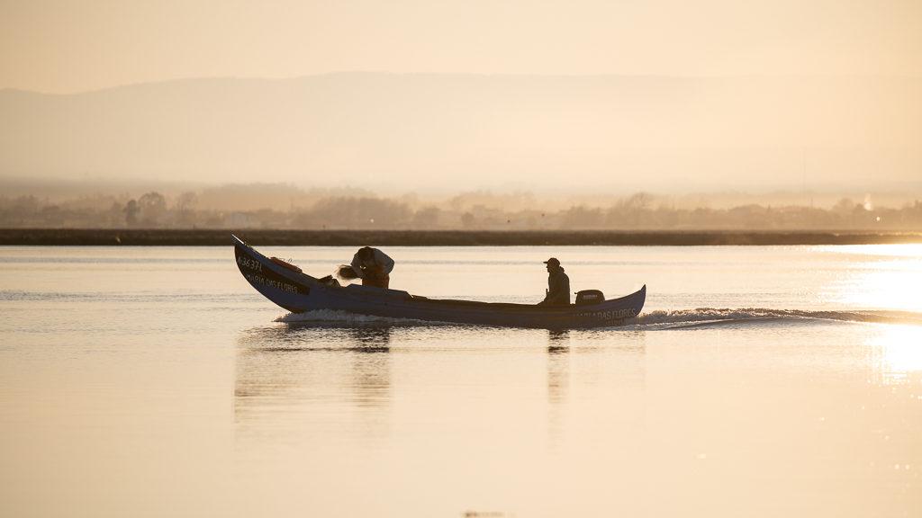 pêcheurs sur le fleuve Alveiro au Portugal au petit matin
