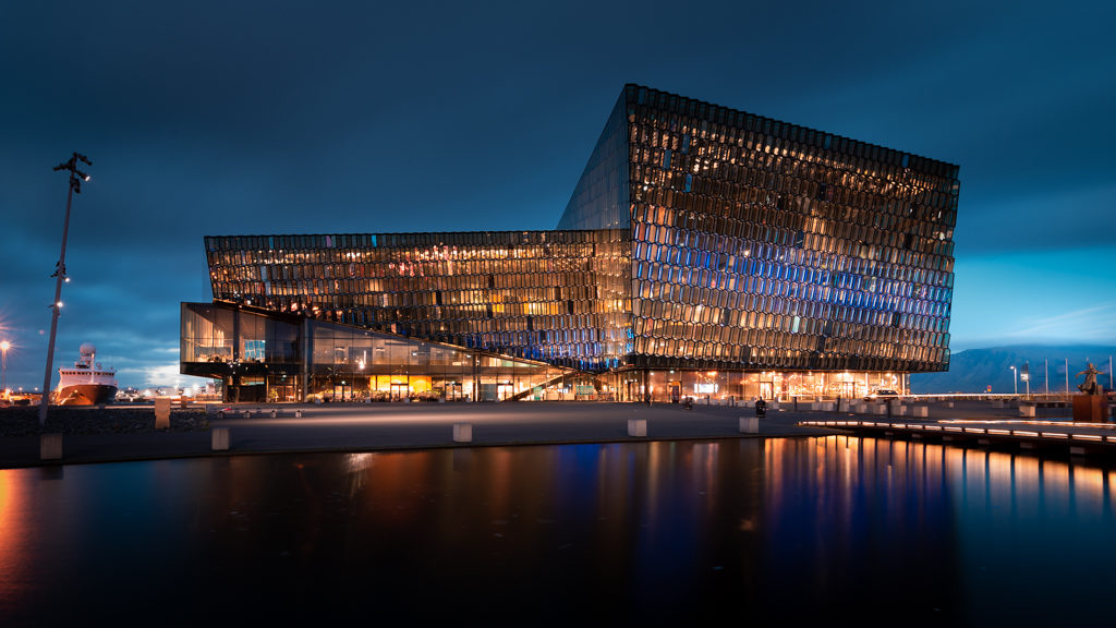 Harpa centre in Reykjavik at blue hour