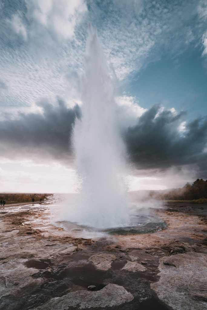 Strokkur geyser in Iceland during eruption