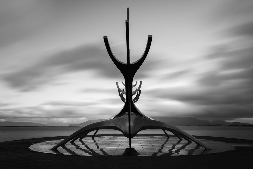 The sun voyager in reykjavik, a sculpture of a boat facing the sea