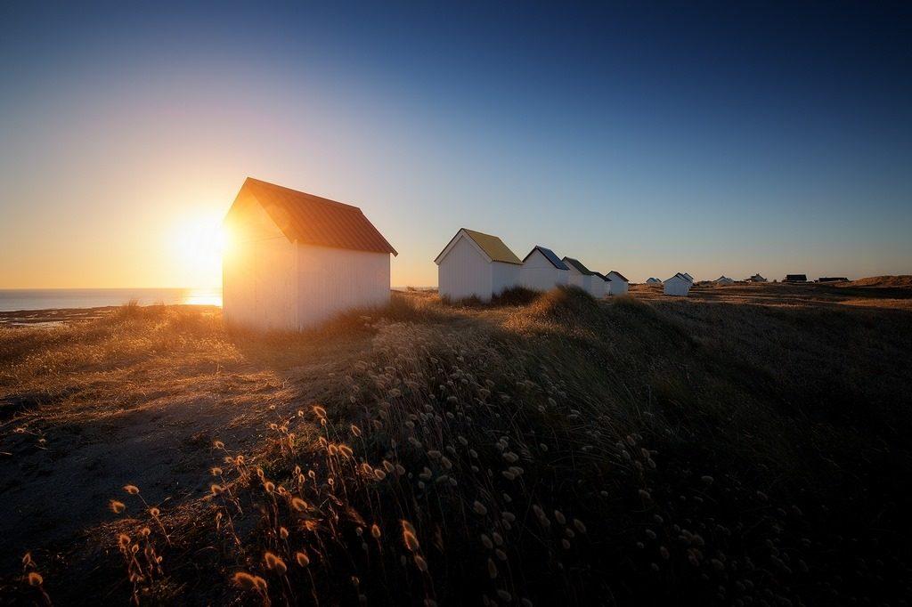 cabines de plage à Gouville-sur-mer en Normandie