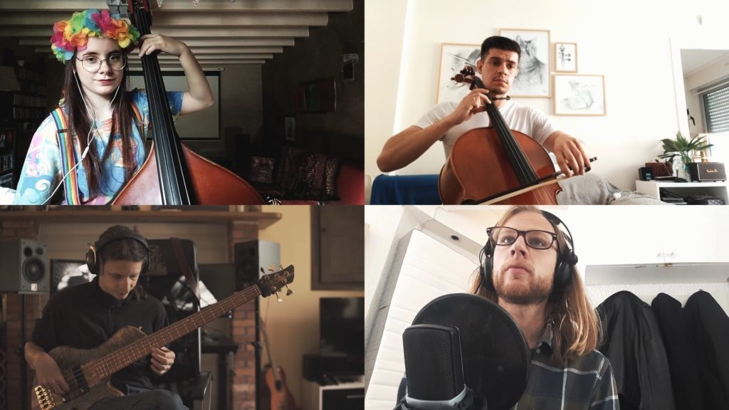 Groupe de musiciens participant à une chorale virtuelle