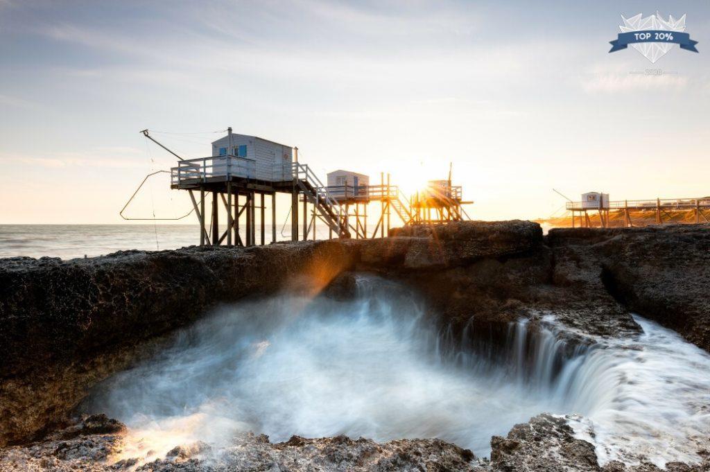 Cabanes de pêcheurs au coucher de soleil