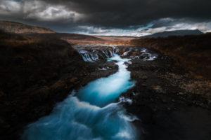 Chute d'eau Buarfoss en Islande, eau turquoise