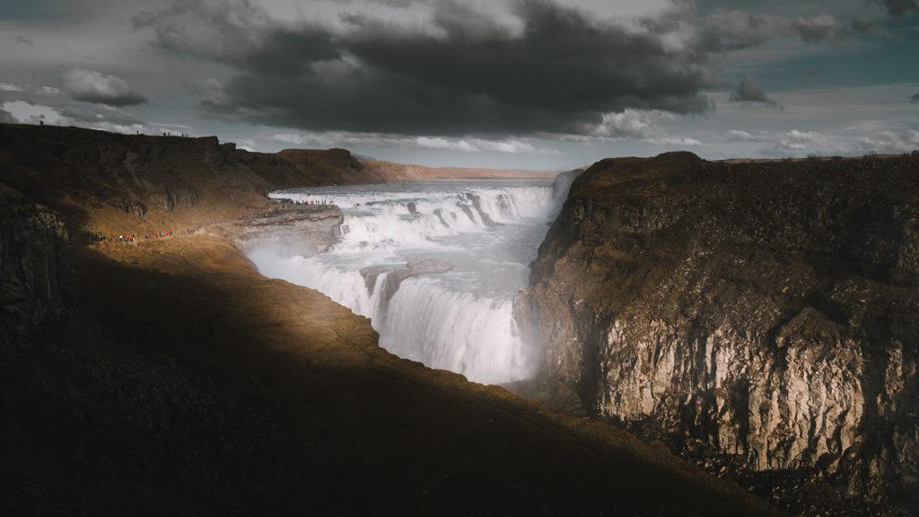 Gullfoss en Islande : énorme chute d'eau