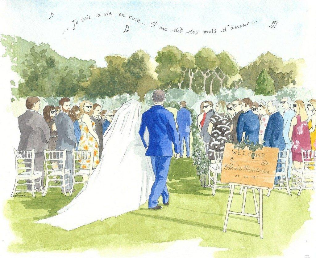 Page d'un carnet de mariage représentant l'arrivée des mariés à la cérémonie laique