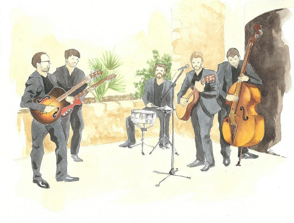 Page d'un carnet de mariage représentant le groupe de musique jouant pendant le vin d'honneur