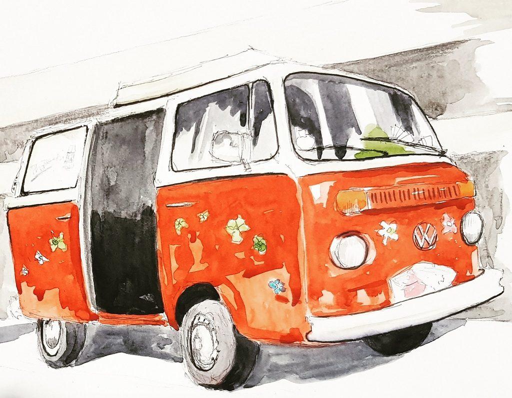 Combi Volkswagen de mariage illustré par Kiara