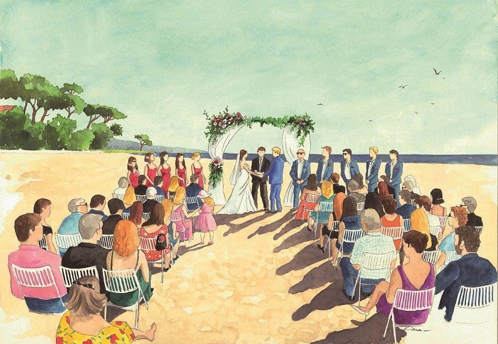 Résultat d'une toile réalisée en live par une artiste peintre pendant un mariage à la plage
