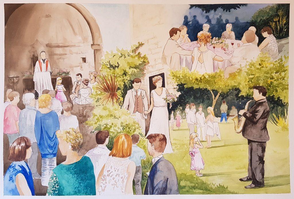 Résultat d'une toile réalisée en live painting sur un mariage, composite de plusieurs scènes